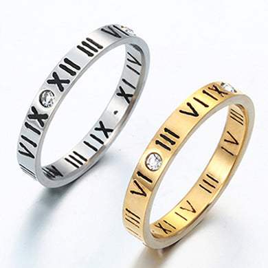 Gold And Roman Numerals Diamond Ring Hollow Stainless Steel Exquisite Joint Ring
