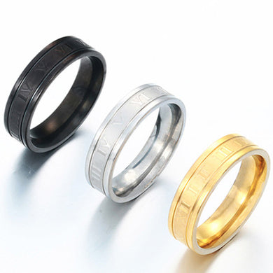 The New Roman Digital Vintage Fashion Trend Men's Stainless Steel Tail Ring Popular Selling Wholesale