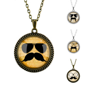 Glasses and Mustache Pattern Pendant Necklace for Men