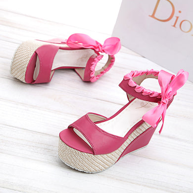 Pink Ribbon Sweet Wedges Platform Sandals