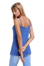 Blue Spaghetti Strap Tank Top with Caged Neckline