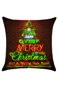 Christmas Tree Bricks Wall Printed Throw Pillow Case