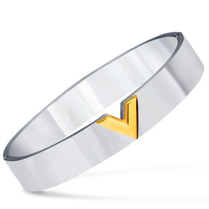 V Cameo Detail Band Bracelet for Women