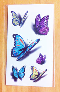 Body Art Stickers Removable Waterproof Temporary Tattoos Colorful Butterflies Patterns (1 sheet)