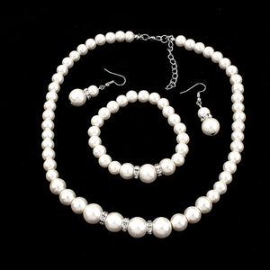 Classic Fashion Chain Pearl Three-Piece Set Of Diamond Set Chain Manufacturers Direct Sales