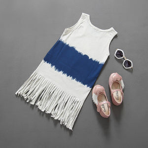 One Piece Shift Dress with Fringes Hem