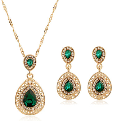 High - End Air Drop Hollow Glass Diamond Necklace Earrings Two Pieces