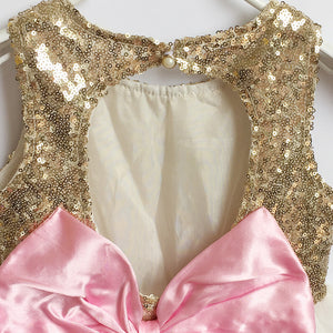 Sleeveless Golden Sequin Girl's One-piece Dress with Big Bow at Back