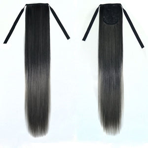Long Clip-in Off Color Hair Extension with Ribbon Ties