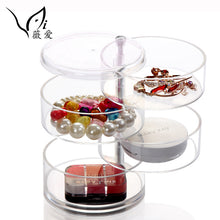 Acrylic Transparent 4 Layers Rotatable Cylinder Shaped Cosmetics Storage Box Cosmetic Organizer