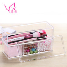2 Tiers Acrylic 4 Space Cosmetic Organizer Makeup Storage Box with Lid (1 set)