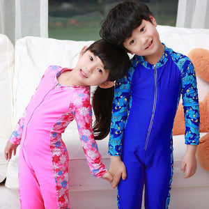 Long Sleeves One-piece Wetsuits Diving Suits Boys Girls Rash Guards Patchwork Surfing Swimwear Swimsuits