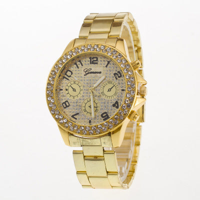 Casual Analog Quartz Watch Rhinestone Plate Fake Triple Plate Watch for Men