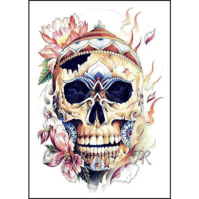 Extra Large Full Arm Temporary Tattoo Scull Tattoo Skull Body Stickers (1 sheet)