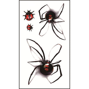 Body Art Stickers Removable Waterproof Temporary Tattoos Spiders Patterns (1 sheet)
