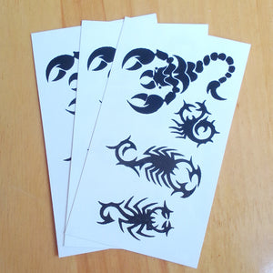 Body Art Stickers Removable Waterproof Temporary Tattoos Black Scorpion Pattern (1 sheet)