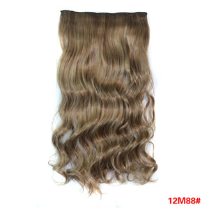 Half Full Head Hairpiece 5 Clips One Piece Blond Colors Long Curly Synthetic Clip in Hair Extensions