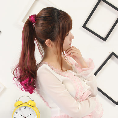 Loose Digital Perm Off Rose Pink Clip-in Pony Tail Hair Extension