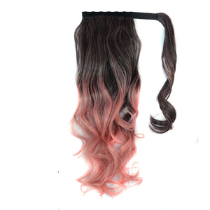 Double Colors Long Loose Digital Wave Pony Tail Clip-in Hair Extension