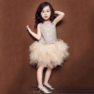 Champagne Color Sleeveless Puff Dress for Girls