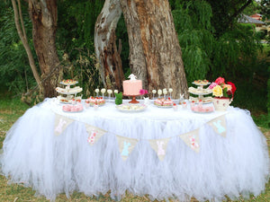 Tulle Table Skirt Cover for Events Parties Home Decoration