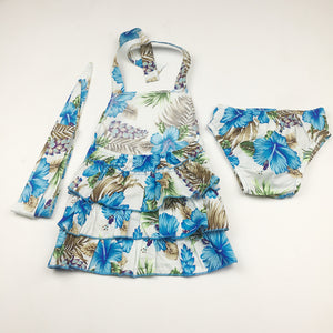 Baby Girls Blue Flower Printed Pattern Rompers Suits