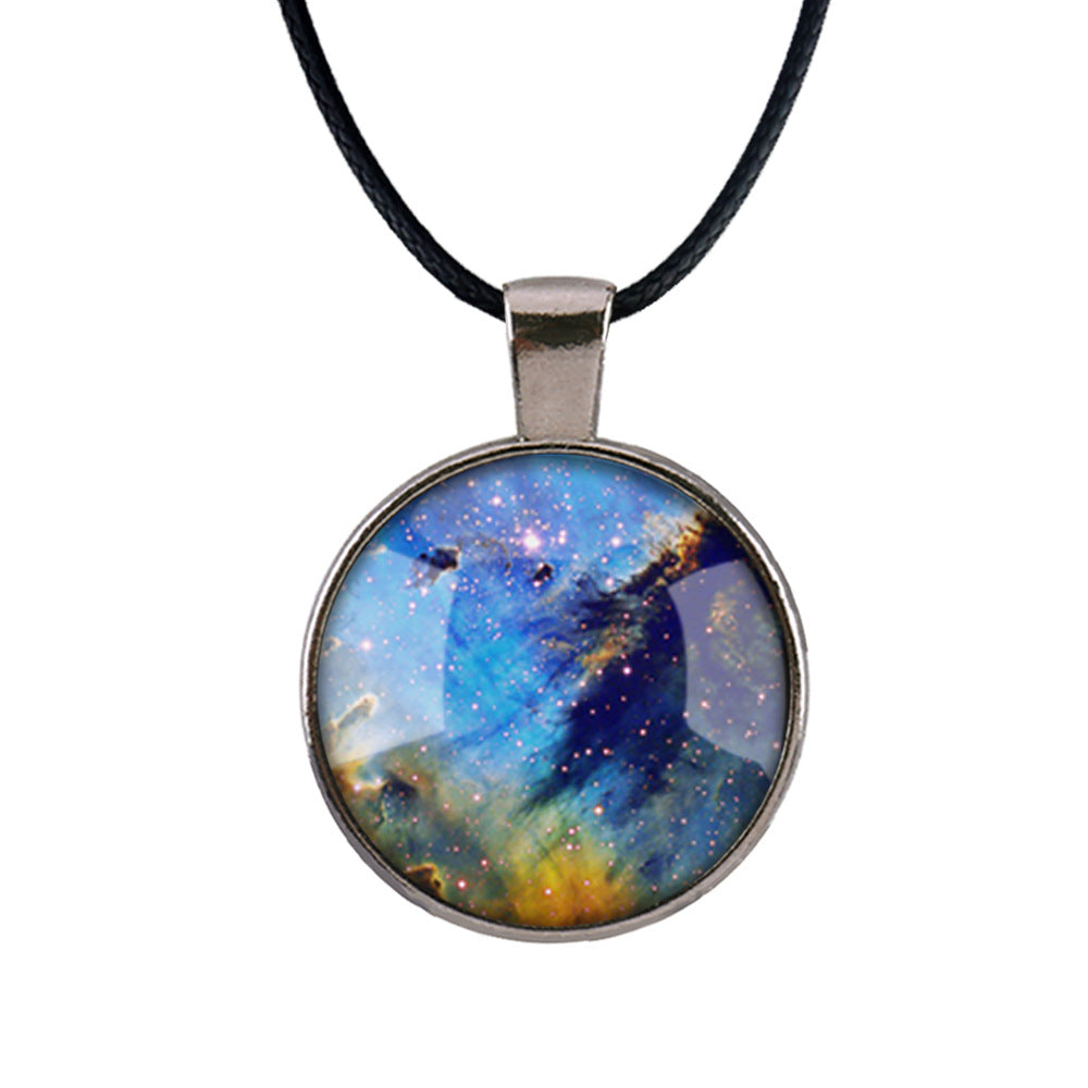 Silver Way Space Pattern Pendant Necklace