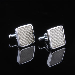 Carbon Fiber Cuff Links Selling Hot White Fiber Lattice European And American Fashion Accessories Wholesale