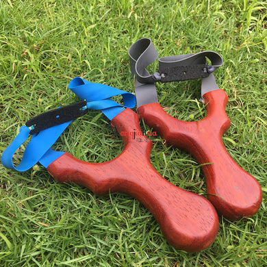 New High Quality Flat Rubber Band Slingshot Precise Solid Wood Handle Powerful For Shooting Hunting