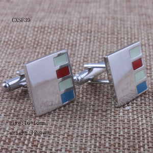 Exquisite Cuff Links Red Blue White Cuff Links Copper Cuff Links European And American Fashion Accessories
