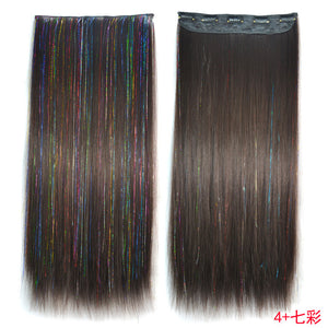 "HAIR SW Colored Highlight Synthetic Hair Extensions Clip In One Piece Color Strips 60"" long Straight hairpiece"