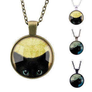 Black Cat Pattern Pendant Retro Fashion Necklace for Men