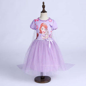 Girls Wearing kids Catoon Anna and Elsa Long Sleeved Shawl Dress Snow Queen Halloween Party Role