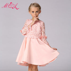 Lace Flower Decoration A-line Dress for Girl Long Sleeves