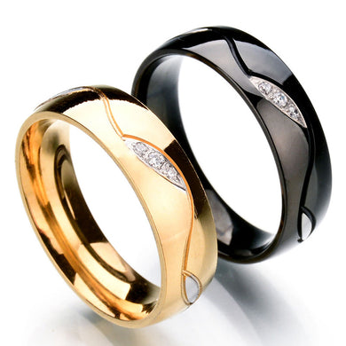 Stainless Steel 18-Karat Gold With 3 Diamond Ring Lovers Ring
