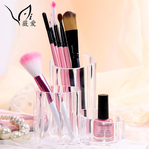 Acrylic Cosmetic Organizer for Brushes and Nail Polish 3 Space Makeup Storage