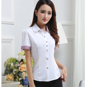 Women Formal White Shirts S-2XL Long Sleeve Female Lady Casual Blouse Tops Turn-Down Neck Chiffon Blouses Work Shirt