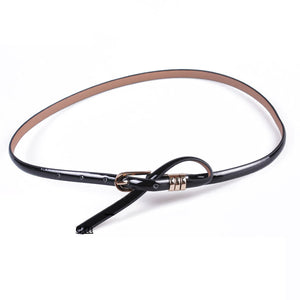 Luster Surface Thin PU Leather Belt