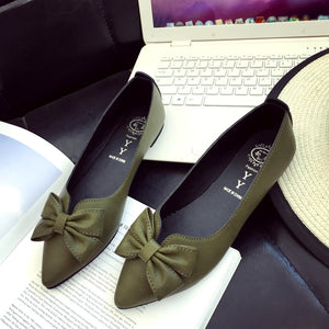 Ladies Bow Pointed-toe Slim Flat Shoes