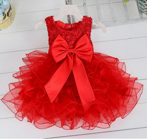 Sequined Pearls Bow Belt Bubble Dress for Girl
