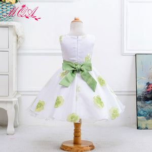 Children Dress A-line Dress with Flower Printed Pattern Bow Knot