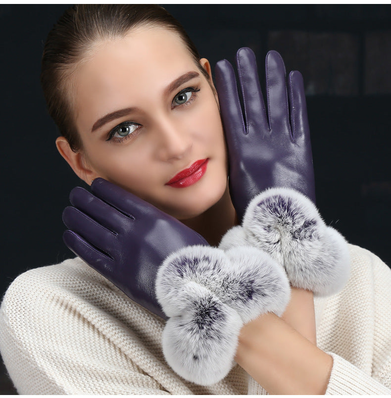 Leather Gloves with Fluffy Fur Cuff for Women (1 pair)