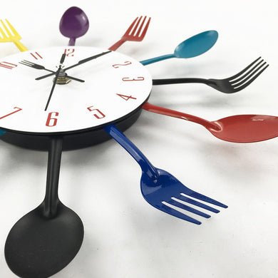 Colorful Modern Creative Cutlery Stainless Steel Kitchen Wall Clock
