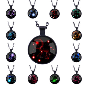 12 Star Signs Pattern Pendant Black Necklace