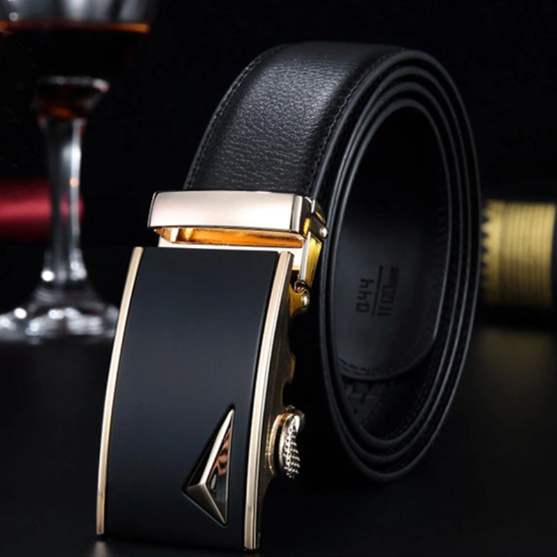 Black/Brown Rectangle Buckle Belts for Men with Multiple Length Options