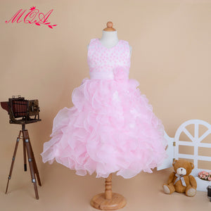 Girl Solid Color Princess Bubble Dress