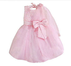 Princess Dress Dress Sequins Dress Single Shoulder Yarn Decoration