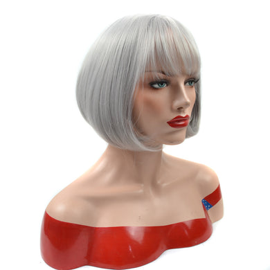 Grey Fringe Short Hair Wigs