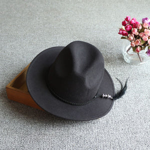 Women Black Felt Hat Pendant Fringe Hat Daily Fashion Dress