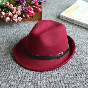 Women Fedora Hat Pure Color Leather Belt Decorated Daily Dress Hat